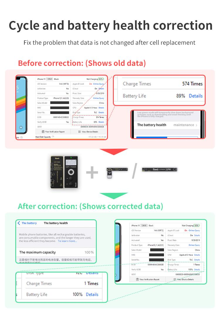 Qianli Copy POWER Battery Data Corrector For iPhone