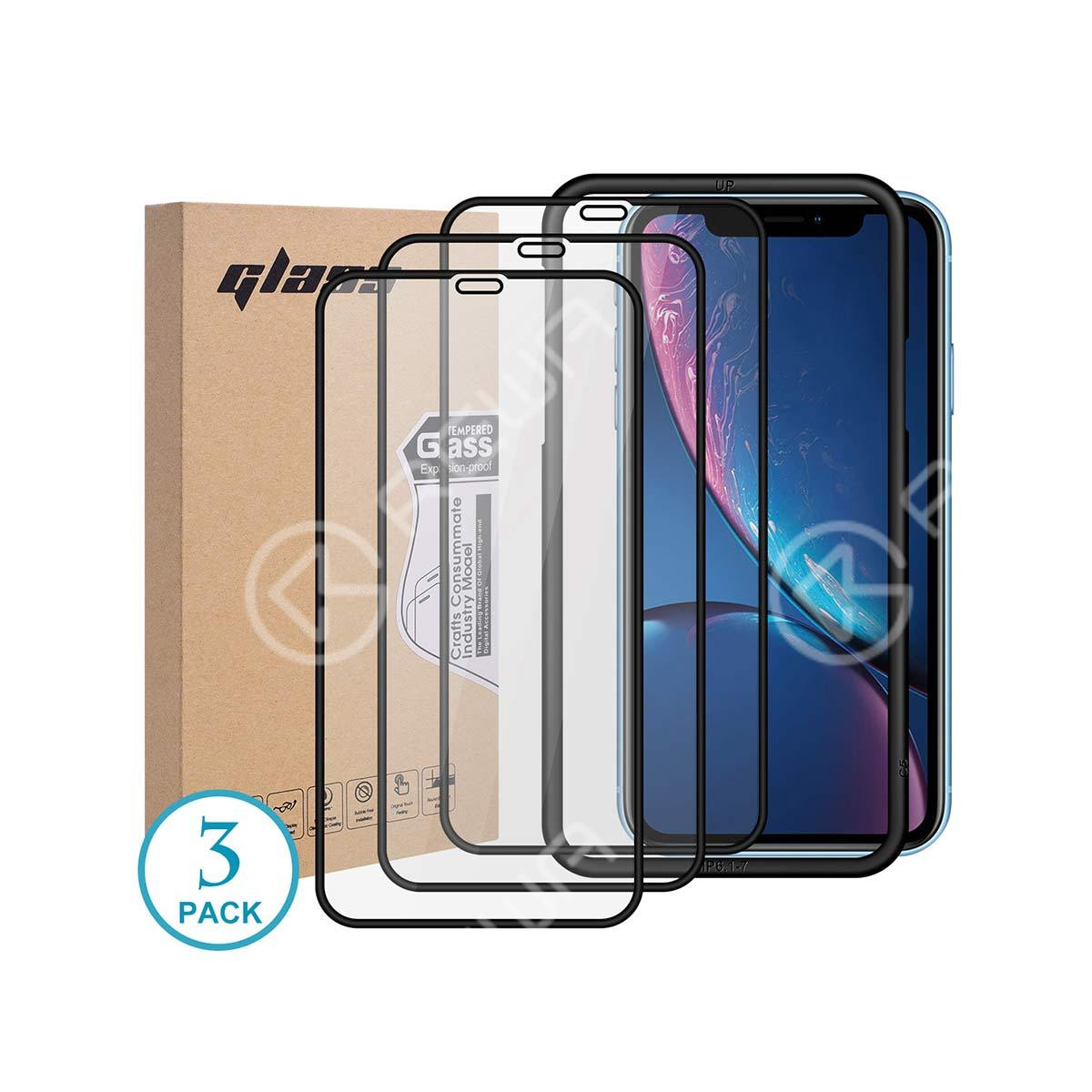 3 Pack Screen Protector Tempered Glass With Install Gudiance Frame For iPhone