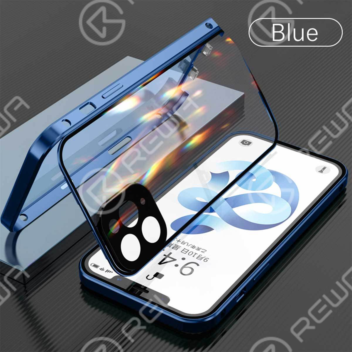 Double-Sided Buckle Phone Case With Camera Lens Protector For iPhone 7-12 Pro Max (Blue)