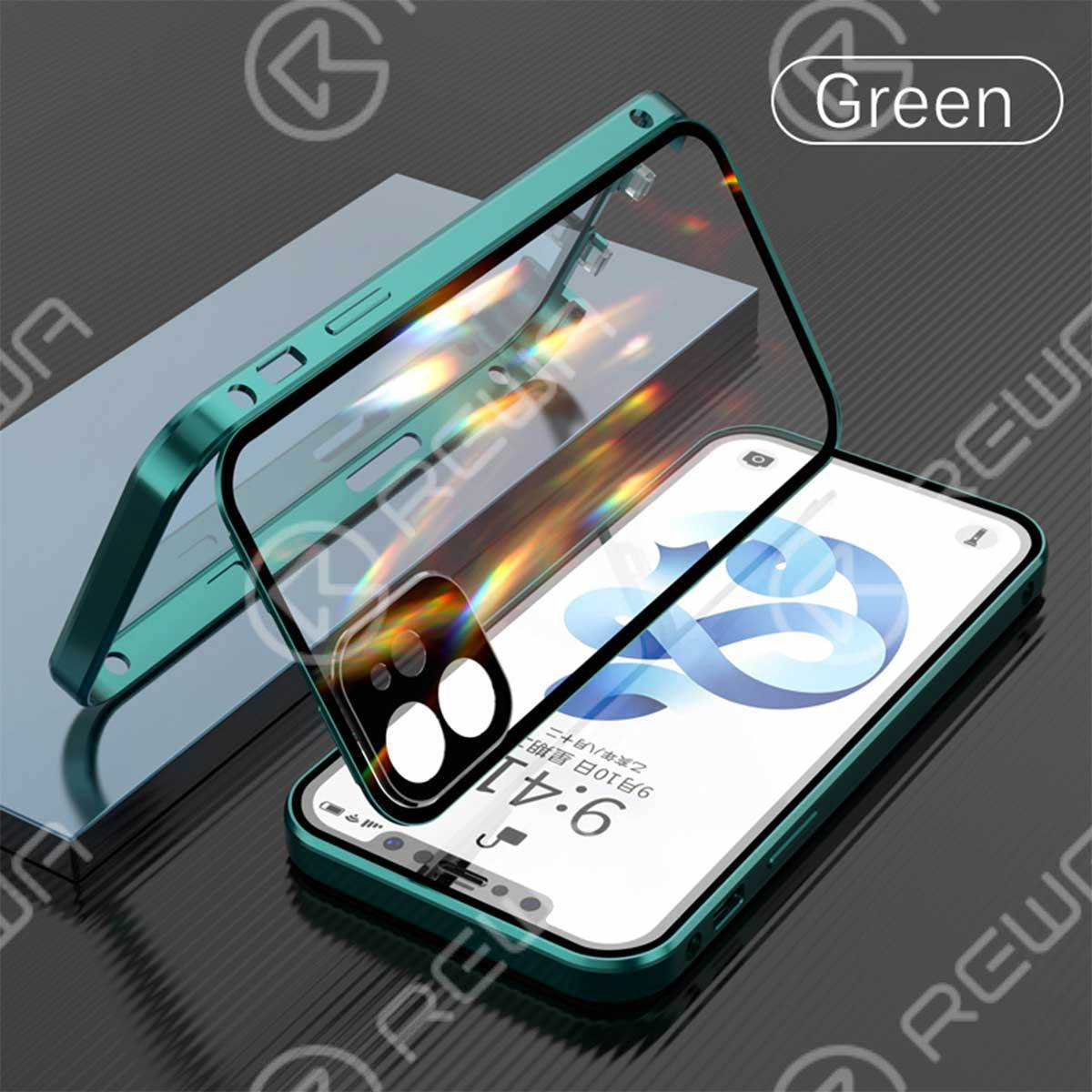 Double-Sided Buckle Phone Case With Camera Lens Protector For iPhone 7-12 Pro Max (Green)