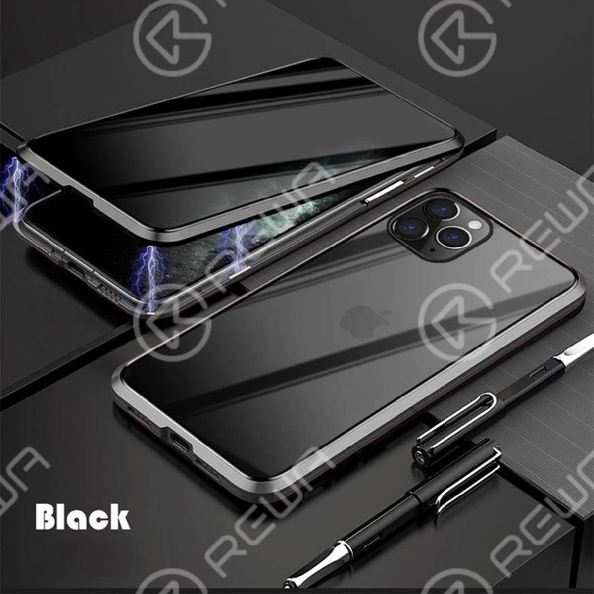 Magnet Double-Sided Privacy Glass Protective Phone Case For iPhone 7-12 Pro Max (Black)