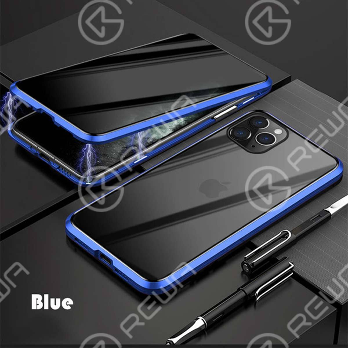 Magnet Double-Sided Privacy Glass Protective Phone Case For iPhone 7-12 Pro Max (Blue)